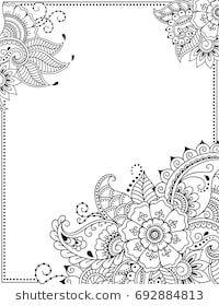 Stylized With Henna Tattoos Decorative Pattern For Decorating Covers For Book Notebook Casket Magazine Flores Para Dibujar Dibujos Henna Disenos De Mandalas