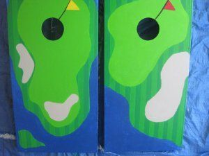 golf themed corn hole board cornhole boards - Cornhole Design Ideas