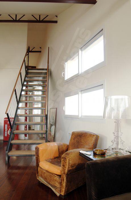 Photo DT43 - ESCA\u0027DROIT® Escalier droit d\u0027intérieur métal, bois