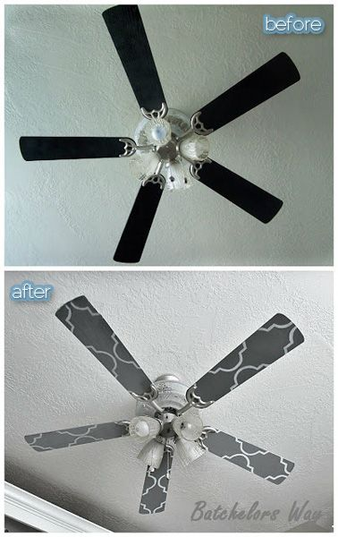Take down the fan blades and paintstencil themlove this crafts all it takes is a stencil and some paint to glam up a ceiling fan ronda batchelor of batchelors way shows you how she painted her ceiling fan mozeypictures Choice Image