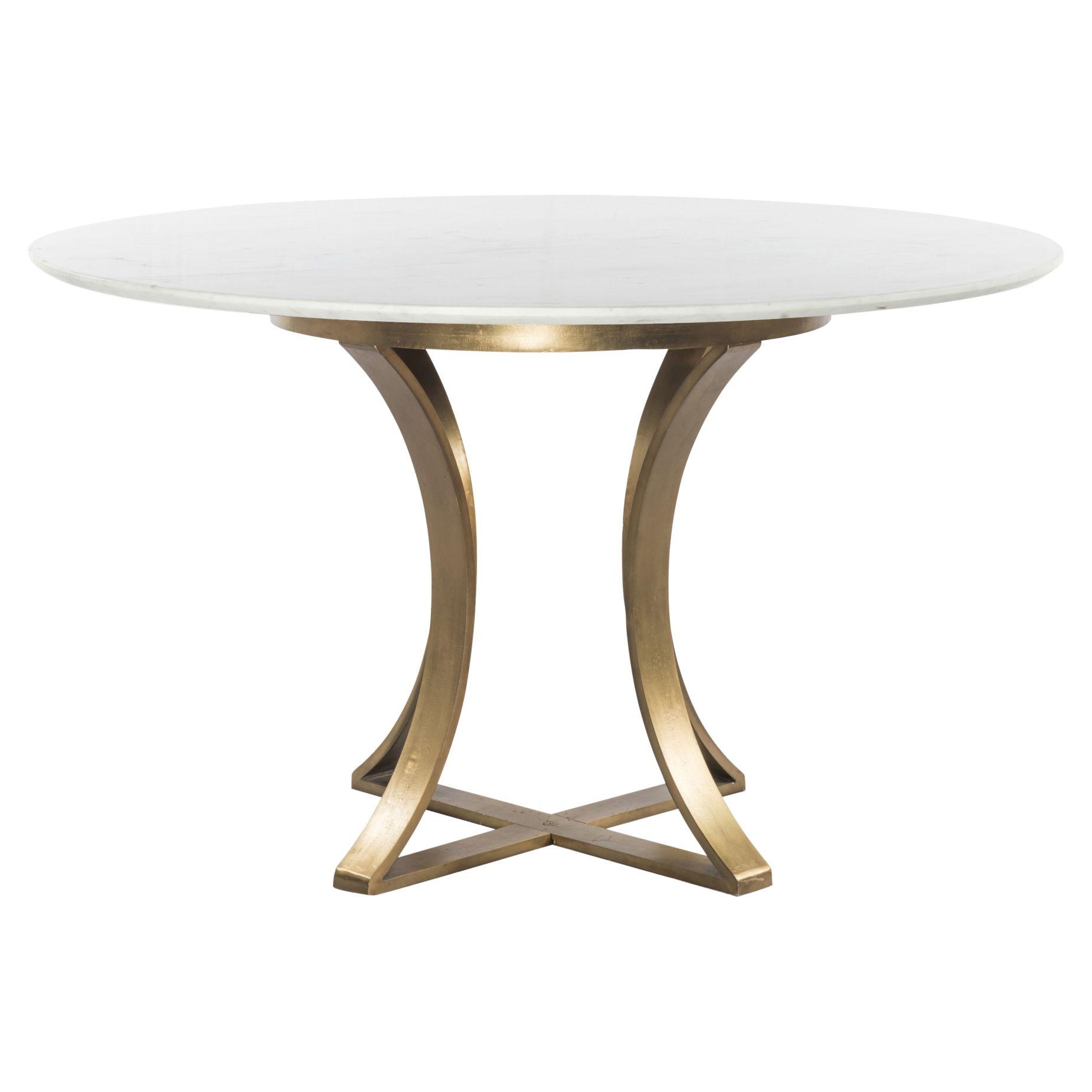 Grace Modern Classic Cast Brass Round White Marble Dining Table 48d In 2021 Dining Table Marble Modern Round Kitchen Table Round Dining Table Sets