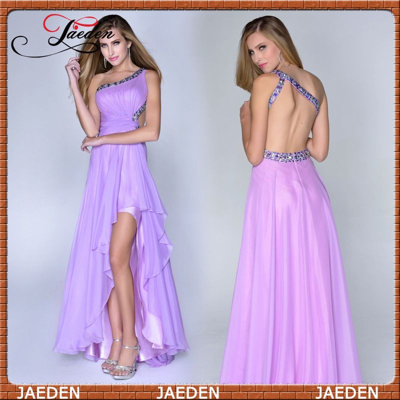 HE108 Scoop Neckline Crystals Backless Fashion New Free Shipping High Low Purple Evening Dress 2014 $89.99