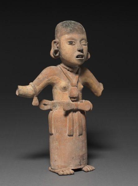 Veracruz Female Figure 200-500 Pottery with burnished buff slip and asphalt paint