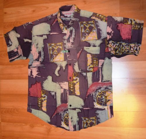 Vintage 80s 100 Rayon Shirt by Campus Size Medium Abstract See Measurements | eBay