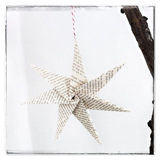 stern aus alten buchseiten upcyclingdecember2012. Black Bedroom Furniture Sets. Home Design Ideas