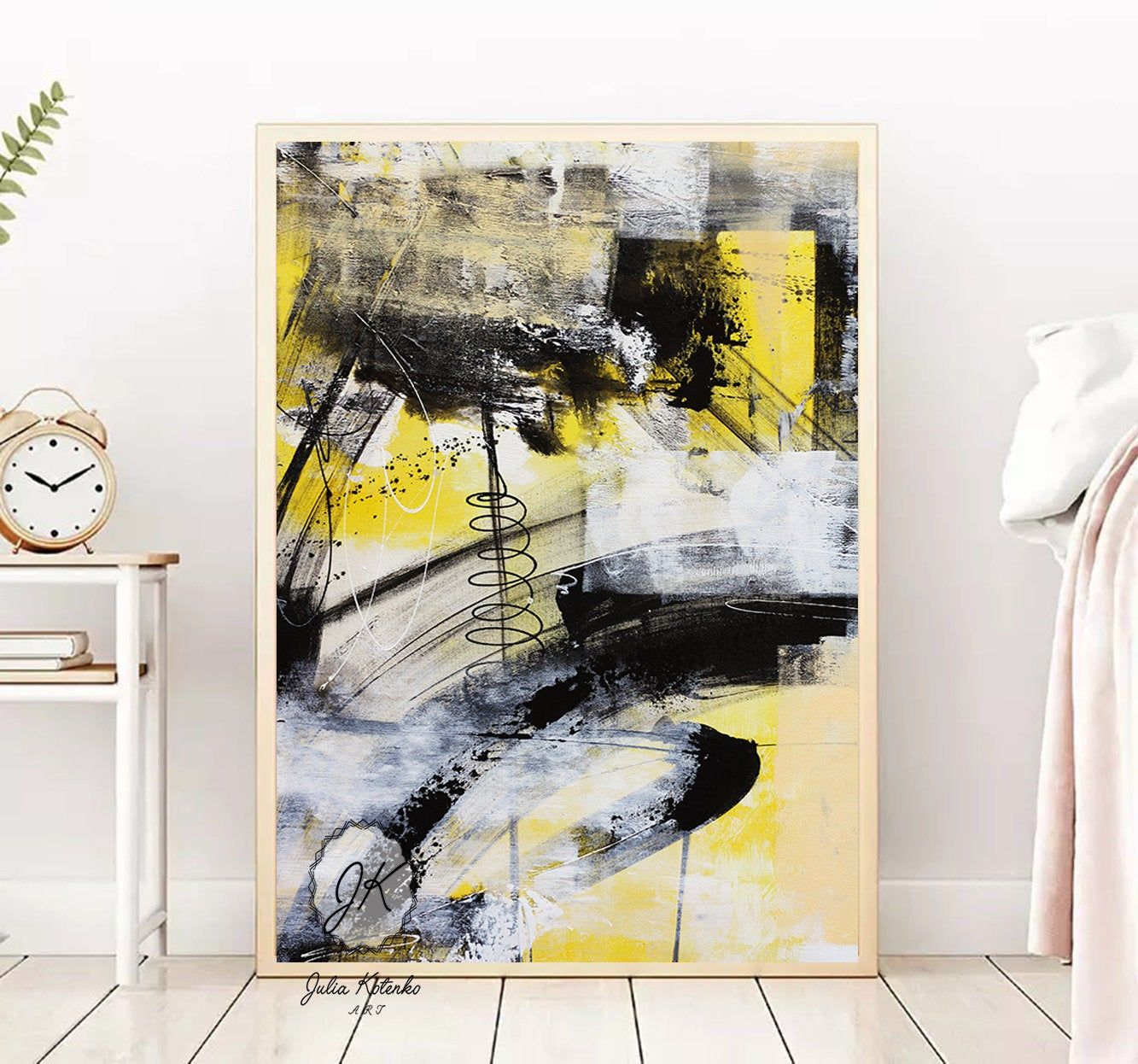 Abstract Printable Wall Art Black Yellow Digital Download Instant Download Digital Above Bed Art Abstr In 2020 Wall Printables Contemporary Abstract Art Colorful Decor