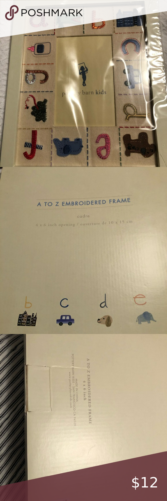 Embroidered Frame New picture frame from Pottery Barn Kids - A to Z embroidered frame, 4x6 opening Pottery Barn Kids Accents Picture Frames