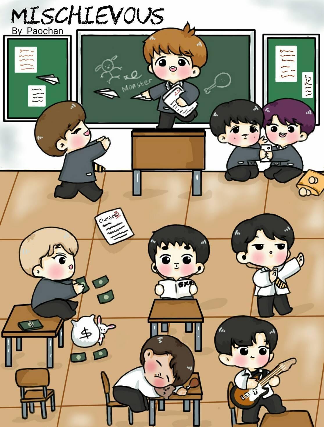 Best Funny Ilustrations  #exo  #chanyeol  #sehun  #kai  #baekhyun  #kyungsoo  #chen  #xiumin  #lay  #suho  #jongdae  #jongin  #minseok  #do  #chibi  #exowebtoon 5