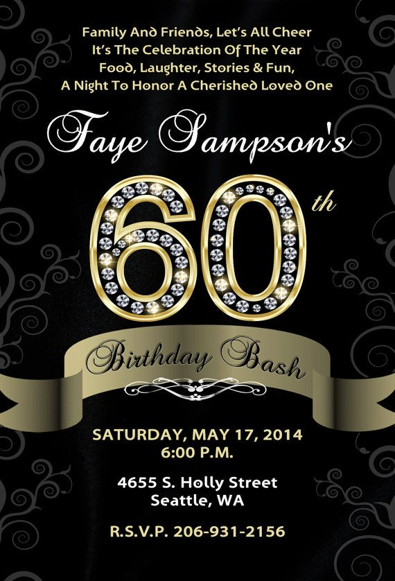 Pin by Shareen Kelly on Birthday Invitations Pinterest – 60th Birthday Invites
