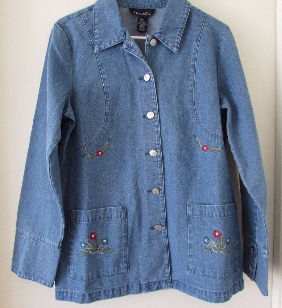 Denim u co blue denim jean jacket floral embroidery size s qvc