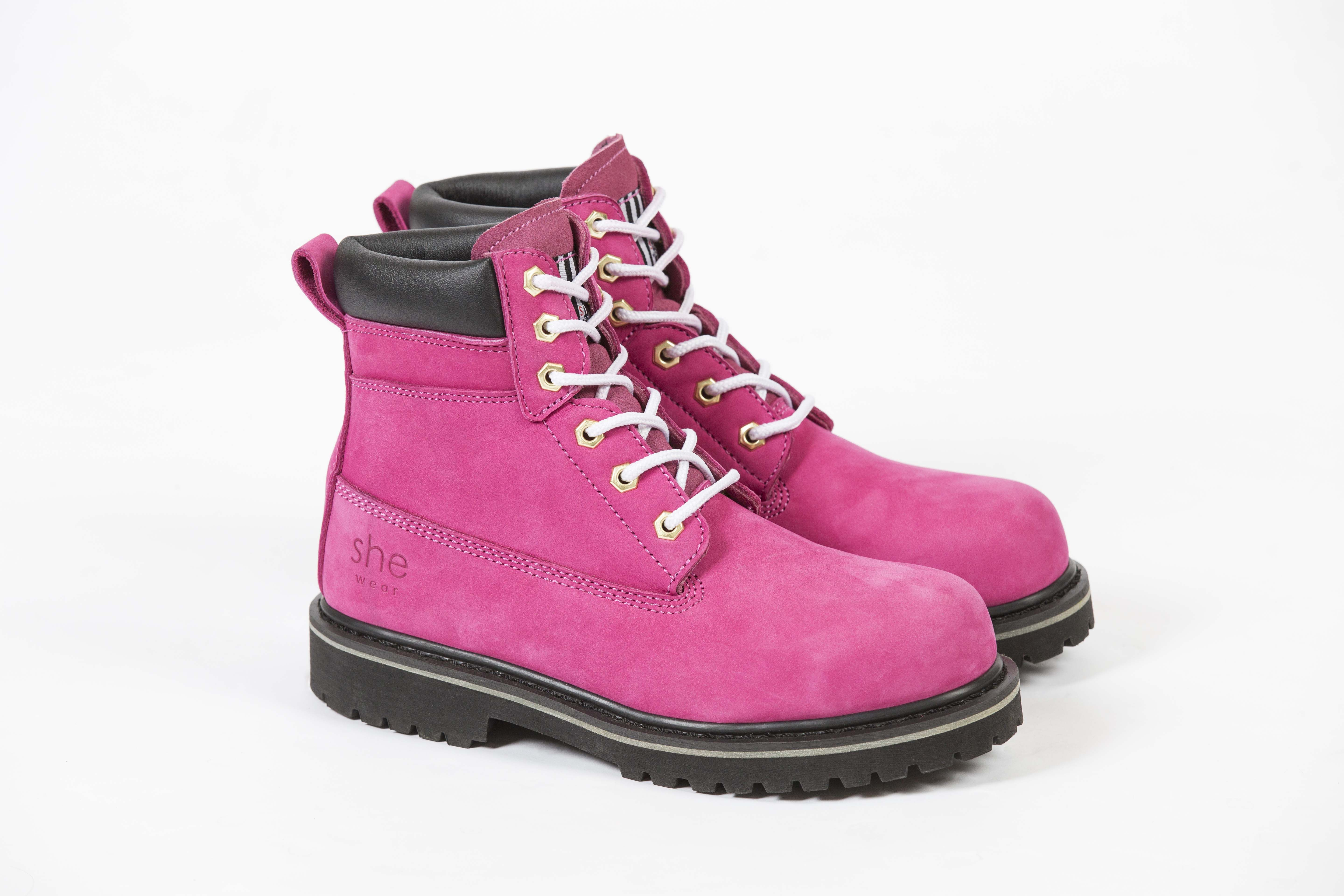 c90e5427bbf our very bright hot pink she wear she can safety work boot ...