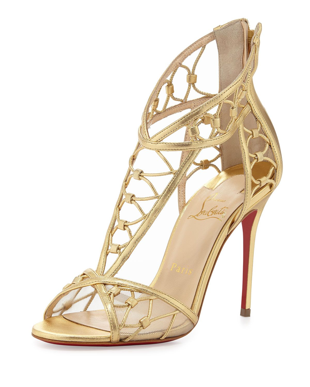 hot sale online 4a7a3 734c0 Martha Metallic Napa Red-Sole Sandal Gold   Shoes. Ohmygod ...