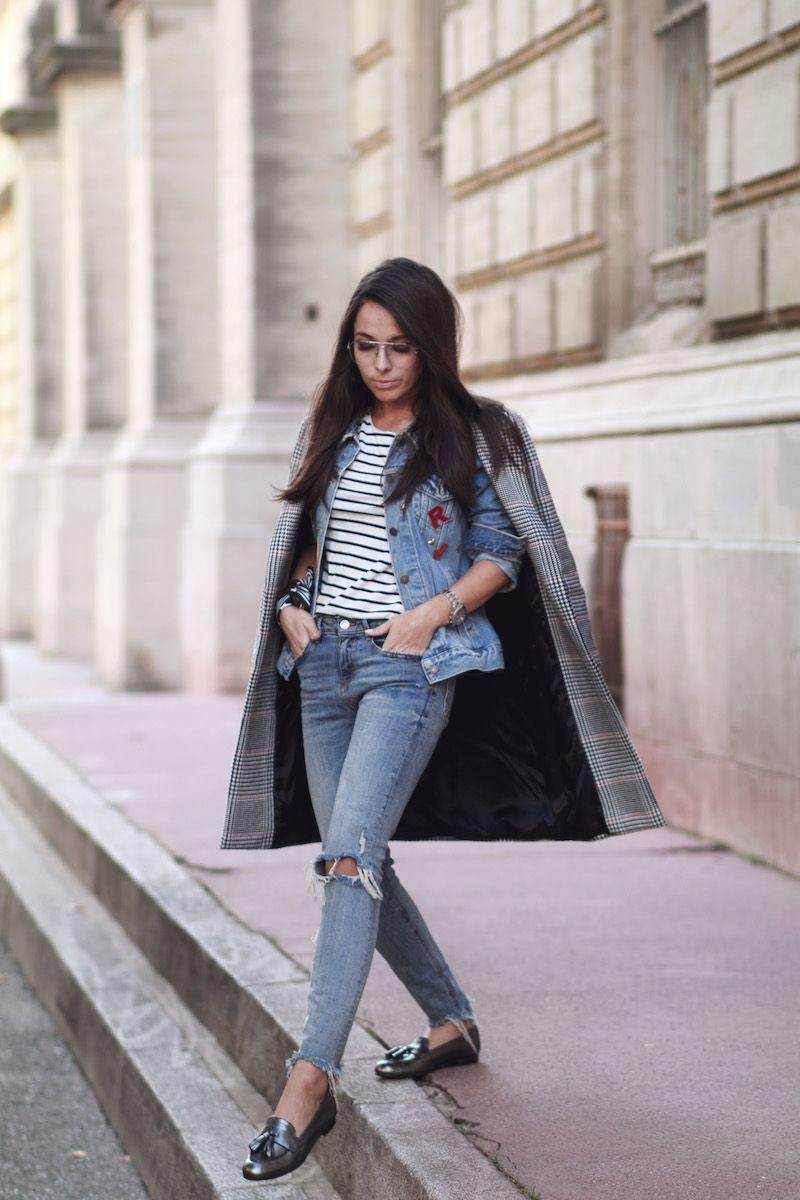 blog-mode-montpellier- jeans zara torué - veste en jeans Levi's - manteau large à carreaux/cadrillé rose, noir, gris