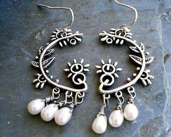 White Freshwater Pearls Chandelier Earrings Sterling silver bridal ...