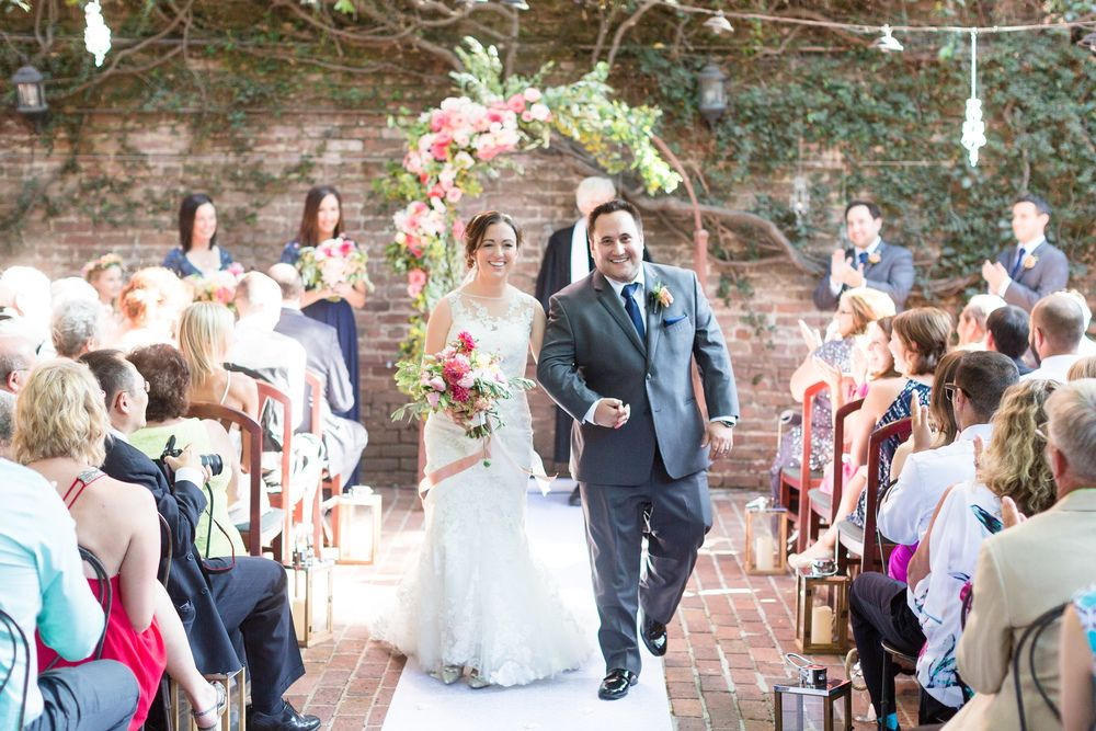 Bride and Groom Ceremony Exit Just Married | Firehouse-Restaurant-Wedding-Old-Town-Sacramento-Wedding-Photographer