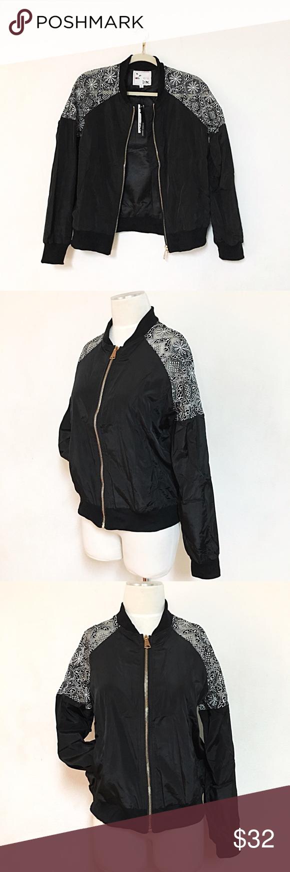 Mesh shoulder mock lace bomber jacket NWT (With images