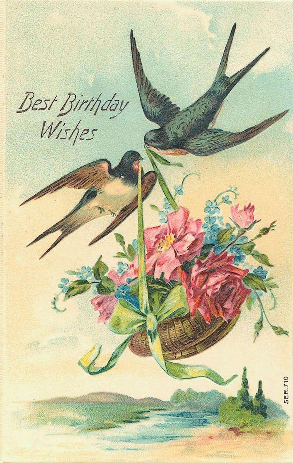 Vintage Birthday Cards Birds With Basket Intage