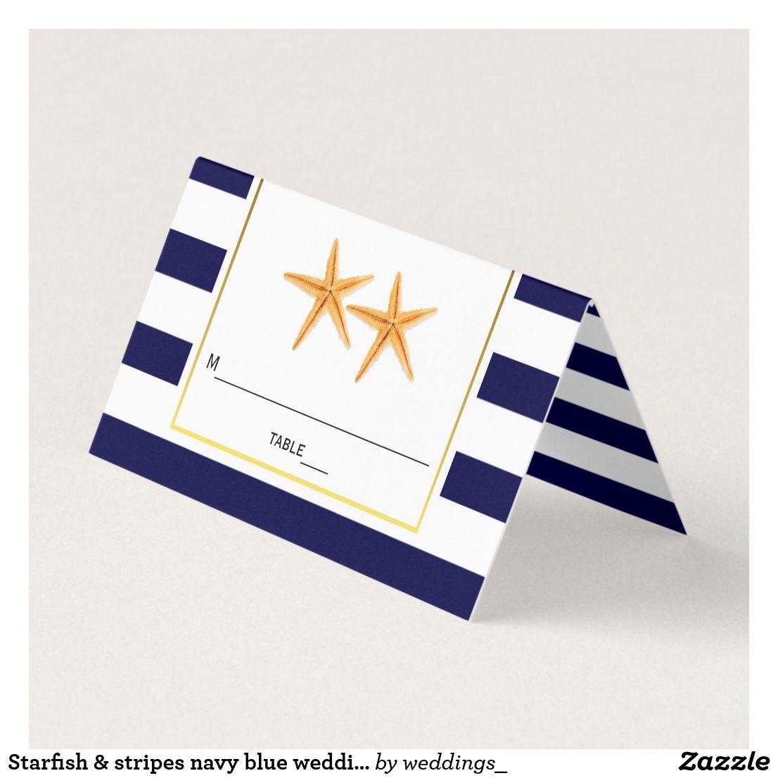 Yellow wedding decorations ideas november 2018 Starfish u stripes navy blue wedding folded escort place card  Nick