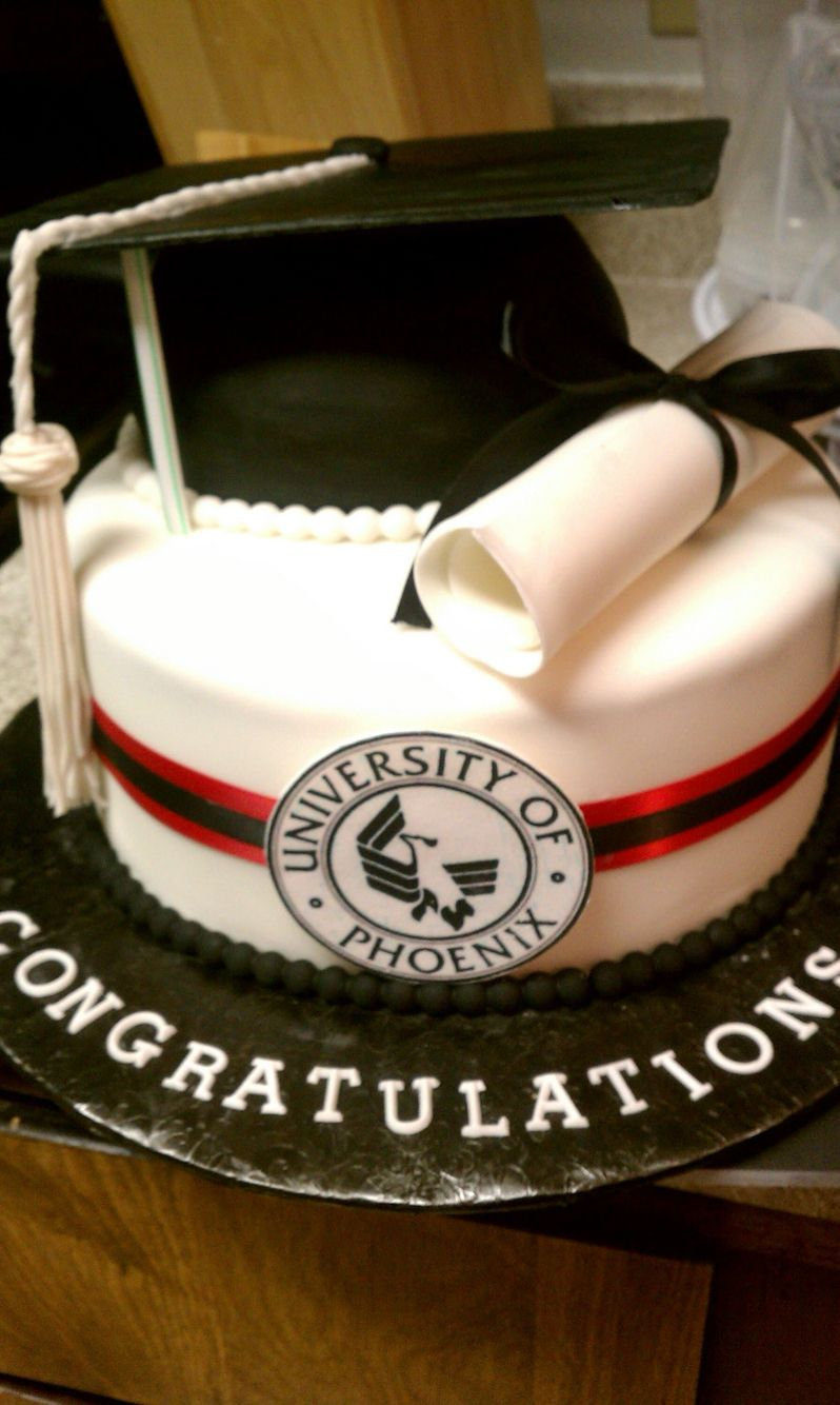 University Of Phoenix Theme College Graduation Cake