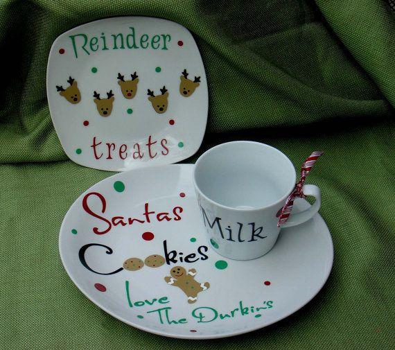 Personalized Cookies for Santa plate reindeer plate and milk mug 3 piece set & Personalized Cookies for Santa plate reindeer plate and milk mug 3 ...