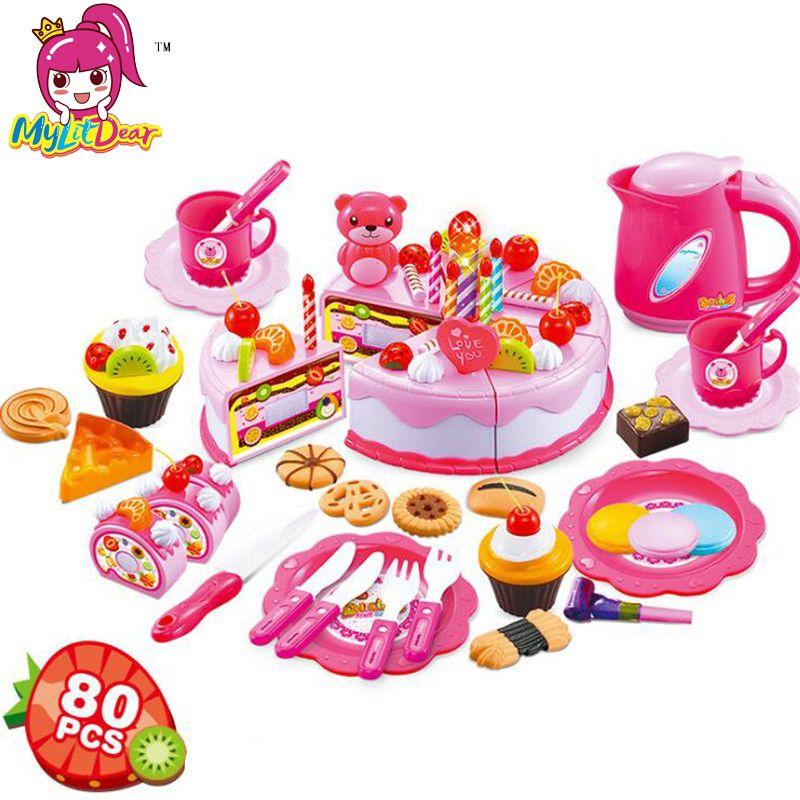 80 Stücke Küche Spielzeug Pretend Play Schneiden Geburtstag Kuchen ...