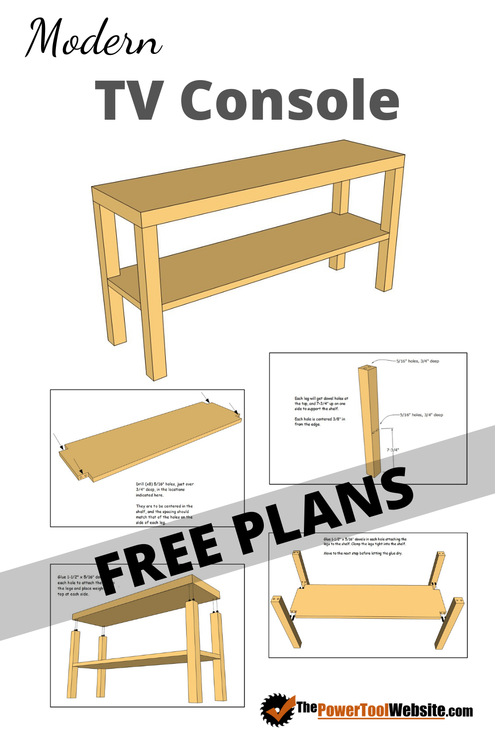 Modern Tv Console Free Projects Plans With Instructions Easy Woodworking Projects Easy Wood Projects Free Furniture Plans