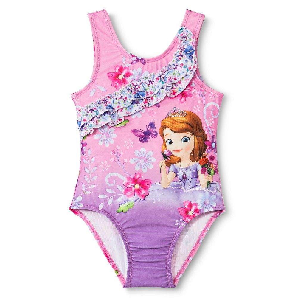98712e9a56920 Disney Princess Toddler Girls' Sofia the First One Piece Swimsuit - Pink 2T,  Toddler Girl's