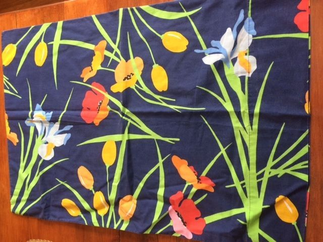 vintage springmaid king sheet set navy poppies tulips red pink yellow fabric springmaid
