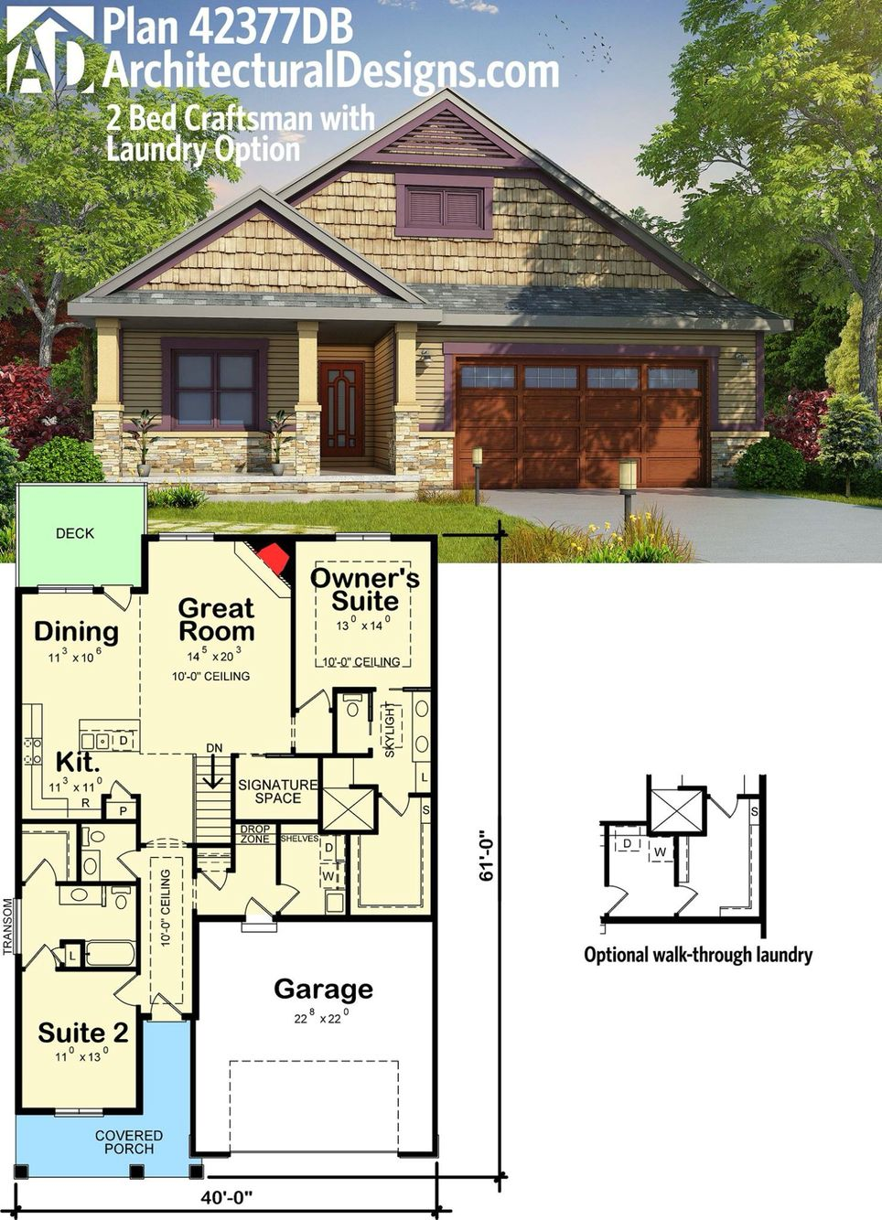 Plan 42377db 2 Bed Craftsman House Plan With Laundry Option Craftsman House Cottage Plan Dream House Plans