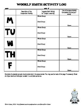 Math Weekly Activity Log  Student Recording Sheet  Math Problem