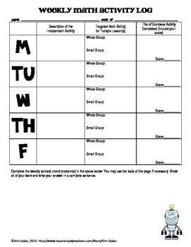 MATH Weekly Activity Log - Student Recording Sheet | Recording ...