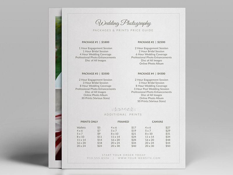 easy to customize 5 x 7 wedding photographer pricing guide price sheet price list template. Black Bedroom Furniture Sets. Home Design Ideas