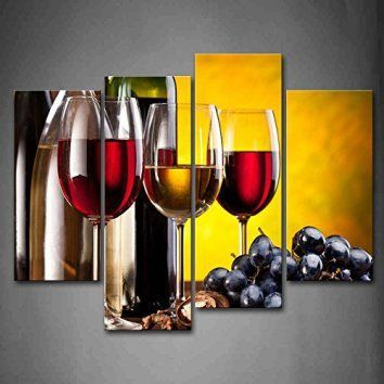 Grape Wine With Cup Wall Art Painting The Picture Print On Canvas ...