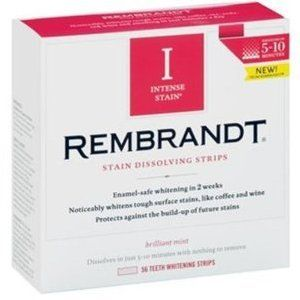 Rembrandt Intense Stain Dissolving Strips work AMAZING! Dissolves in like 10 mins, works magic in 2 weeks!
