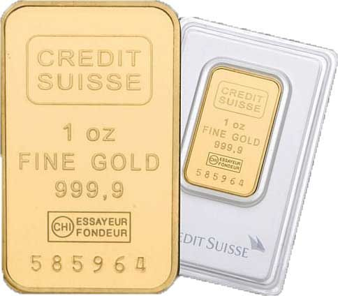 1 Oz Credit Suisse Gold Bar 9999 Fine With Assay Card Gold Bullion Bars Gold Bar Credit Suisse