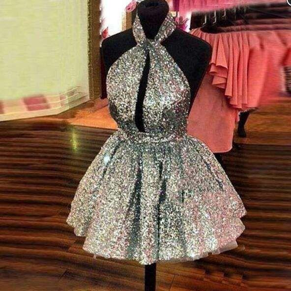 b4c4da2c56 Shiny Silver Sequins Prom Dress