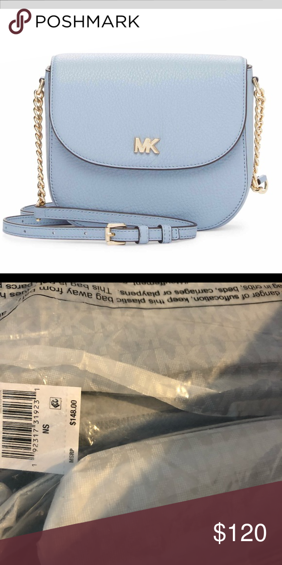 c8c7f57fca315e NWT Michael Kors half done crossbody bag Michael Kors Pale Blue Crossbody  Bag 100% leather Silver-tone hardware Michael Kors Bags Crossbody Bags