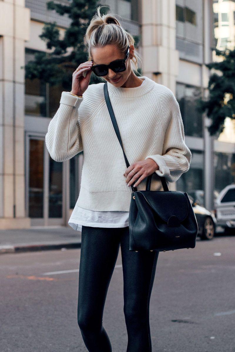 Fashion Jackson Wearing Allsaints White Sylvie Sweater White Tshirt Black Faux Leather Leggings Polene Black Number One Handbag