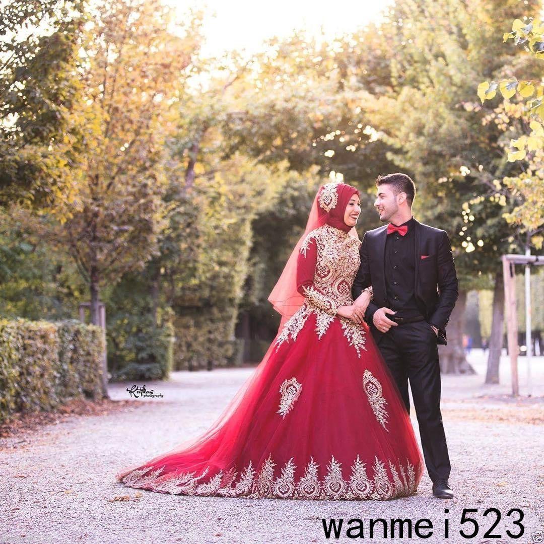 Cool amazing luxury muslim wedding dress with hajib long sleeve