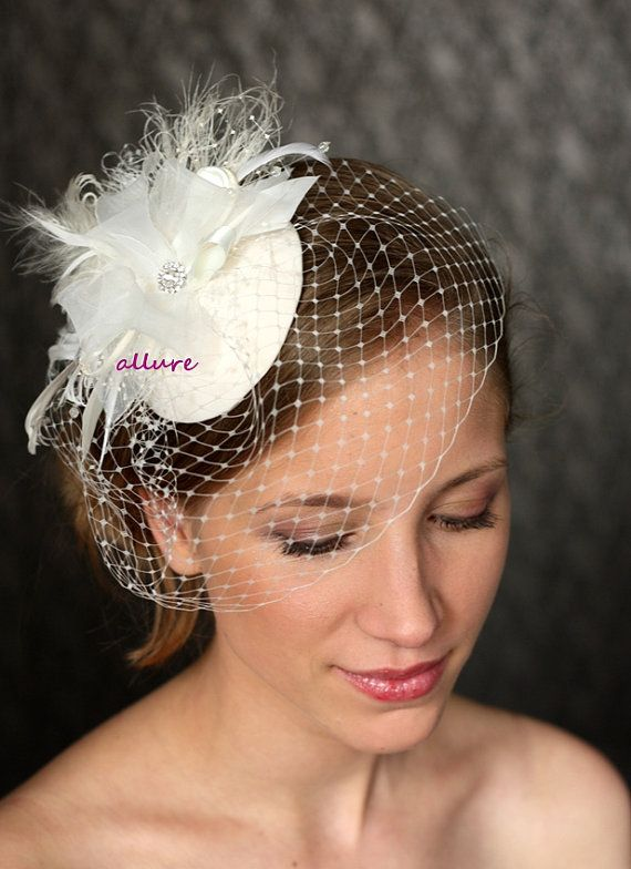 Headdress 1950s BIRDCAGE VEIL Vintage Bow Wedding By