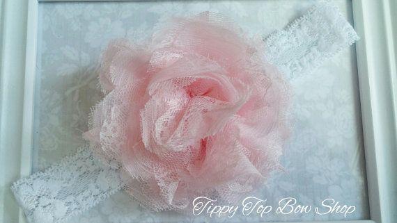 Light Pink Large Lace Chiffon Flower Headband by TippyTopBowShop