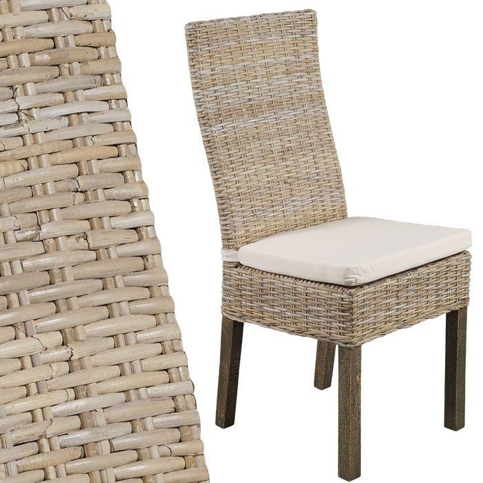 Chaise En Rotin Kubu Blanchi Iola Chaise Rotin Chaise Decoration Maison