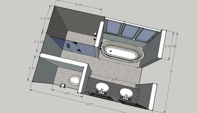 8'x12' bathroom | Bathroom floor plans, Bathroom remodel ...