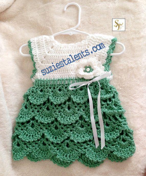 Pattern Pt071 Crochet Baby Dress Baby Dress Pattern Baby Green