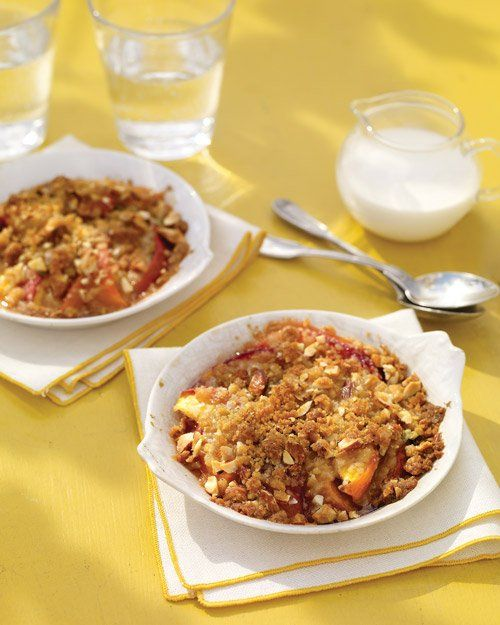 Peach-and-Basil Crumbles Recipe