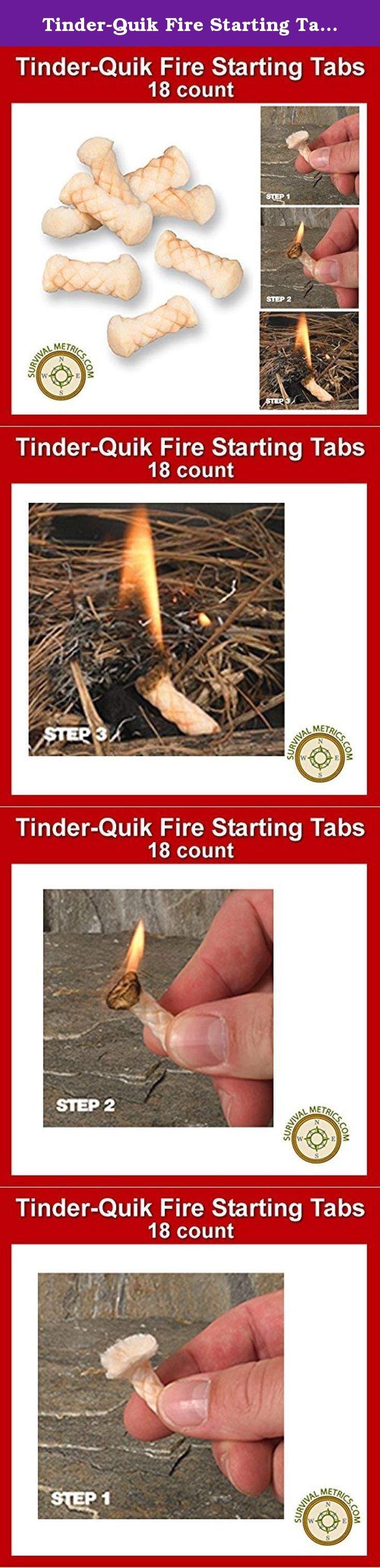 Tinder-Quik Survival Fire Starting Tabs Just Pull /& Spark to Ignite! 18 Count
