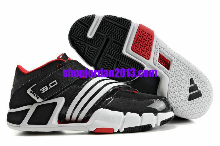 #Adidas #Pilrahna III T Mac 3.0 Black/White/Red Cheap NBA Basketball