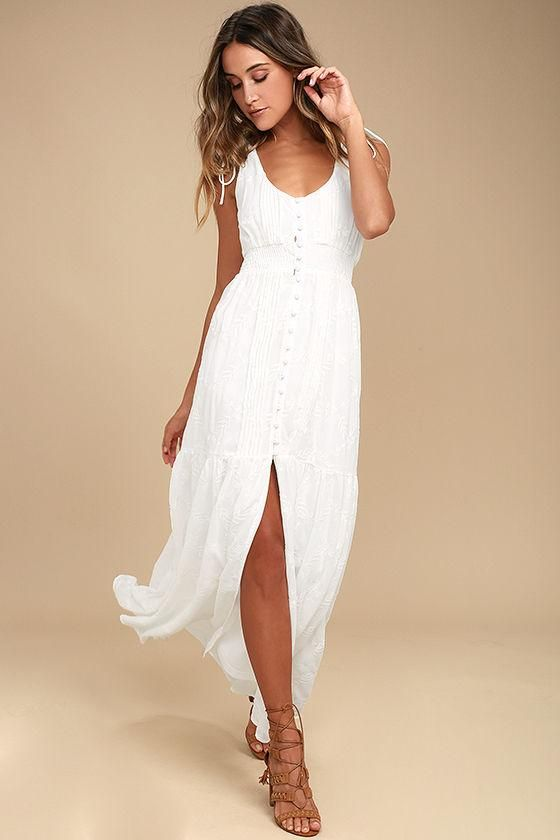 #AdoreWe #Lulus Lulus Time Well Spent White Embroidered Maxi Dress - AdoreWe.com