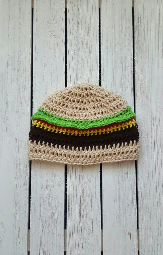Crochet cheeseburger hat 19bdfd39956b