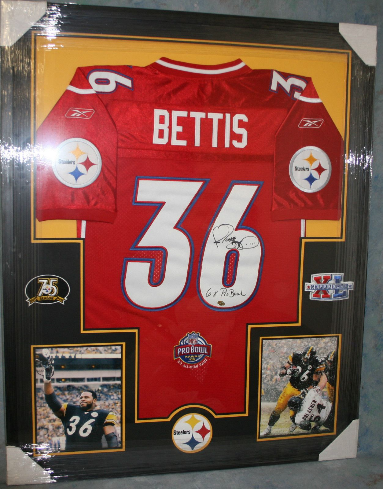 45d49abf4 JEROME BETTIS Framed Pittsburgh Steelers PRO BOWL Jersey 6x Pro Bowl BUS  Holo